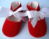 Red Corduroy Booties with White Ribbon Ties