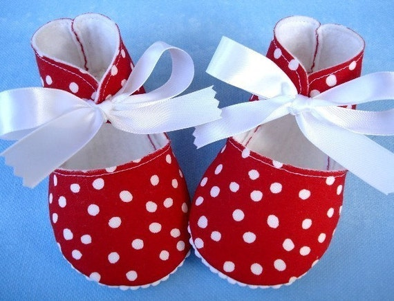 Red and White Dot Booties with White Ribbon Ties