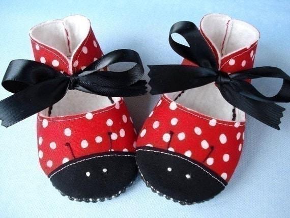 Red Dot Ladybug Baby Booties with Black Satin Ribbon Ties