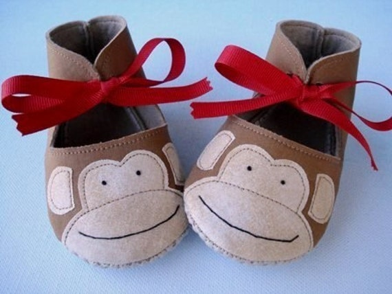 Monkey Booties with Red Ribbon Ties