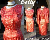 "Vintage Orange Dress Set 2pc Fine Silk Brocade Dress & Jacket Japanese Cherry Blossoms - Bust 38"""