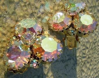 Vintage 60s Earrings Unsigned AB Rhinestone Clip Ons - Pastel Rainbow Sparkle