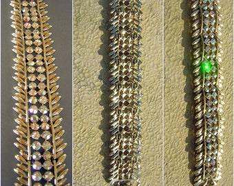 Vintage Rhinestone Cocktail Bracelet Signed BSK Big Chunky Bling Statement