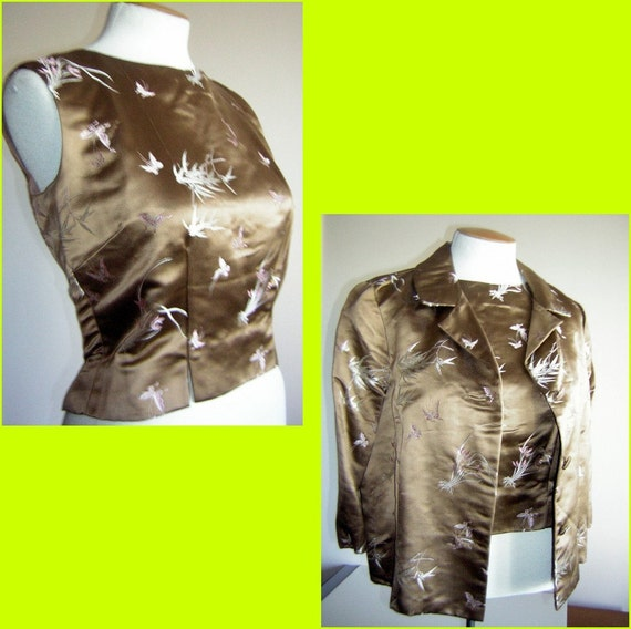 Vintage Blouse and Jacket Silk Satin Butterfly Brocade Suit Set 2 pc - Mad Men Era