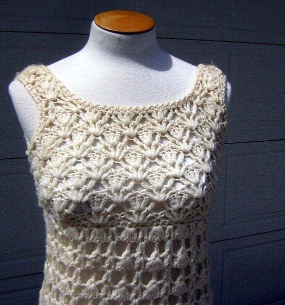 Vtg 60s Ivory Crocheted Dress - Body Con Curvy - Hong Kong - Size Small - Clearance