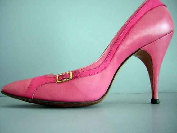 Vintage Magic City - Mad Men retro 60s Hot Pink Siletto Heels Shoes Pumps 5 1/2N