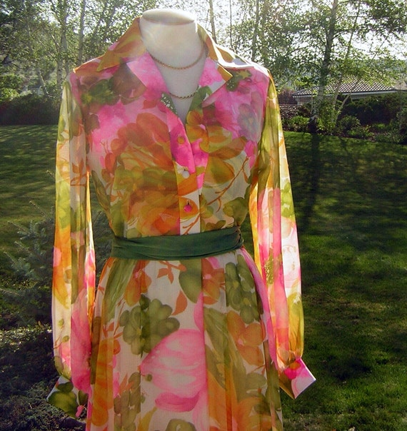 Vintage 60s 70s Sheer Chiffon Maxi Dress - Neon Spring Floral 42-36-Full Large