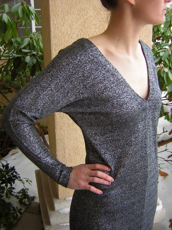 80s Vintage Sweater Dress Slouch Black Silver Tinsel Pullover S / M