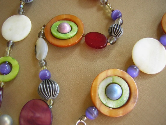 Chunky Funky Necklace, Bracelet, Earring Set Big - Spinning Rainbow Colored Fun