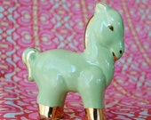 Vintage Ceramic Horse Green and Gold