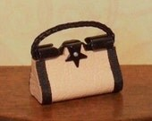 Dollhouse Miniature Peach Leather Purse or Handbag - 1/12th Scale