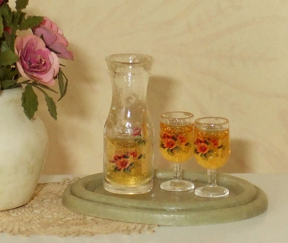 Dollhouse Miniature Wine Carafe with Glasses on Tray - 1/12th Scale