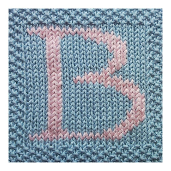 Knitted Dishcloth Pattern With Letters : PDF Knitting pattern capital letter B afghan / by FionaKelly