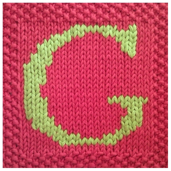 Knitting Letters Into Squares : Pdf knitting pattern capital letter g afghan by fionakelly