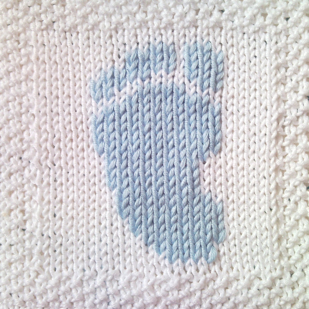 PDF Knitting Pattern Baby footprint motif afghan / by FionaKelly