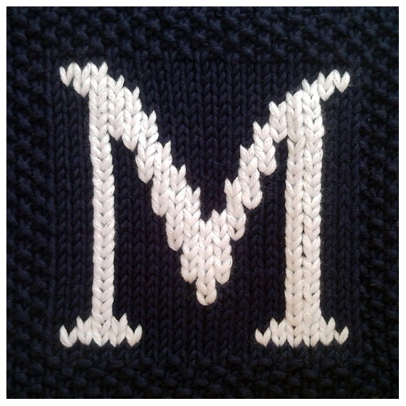 Knitted Alphabet Dishcloth Patterns : PDF Knitting pattern capital letter M afghan / by FionaKelly