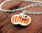Tiny pumpkin necklace in silver and concrete