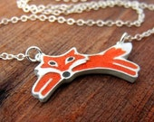 Little red fox necklace in silver and concrete