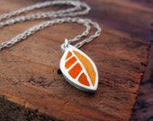 Tiny autumn leaf necklace in silver and concrete