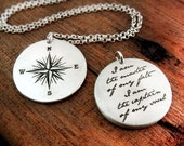 I am the master of my fate necklace.  Compass rose and Invictus quote