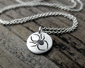 Tiny spider necklace - silver halloween jewelry
