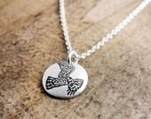 Tiny red tail hawk necklace,  silver hawk jewelry, bird necklace, bird jewelry