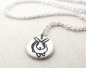 Tiny  silver bunny rabbit necklace, bunny pendant, rabbit jewelry