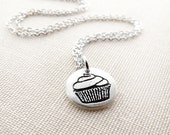Tiny cupcake necklace, silver cupcake jewelry