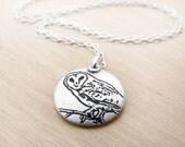 Handmade silver barn owl necklace, barn owl jewelry