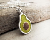 Avocado necklace in silver and concrete -  made to order