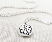 Tiny four leaf clover necklace, lucky charm silver - St Patrick's day