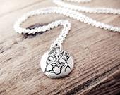 Tiny French Bulldog necklace, silver french bulldog jewelry