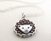 Hedgehog necklace - silver and concrete
