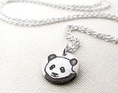 Tiny Panda necklace in silver, panda jewelry