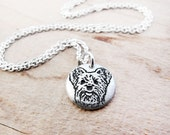 Tiny Yorkie necklace, Yorkshire Terrier necklace, silver dog necklace