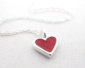 Heart necklace - red concrete and silver - tiny