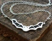 Bat necklace in silver and concrete
