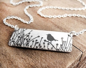Bird necklace, Little bird in the tall grass, silver bird jewelry
