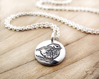 Tiny Chickadee necklace, silver bird jewelry, bird necklace, gift for her, gift for wife, girlfriend gift, coworker gift