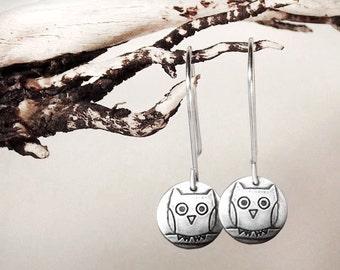 Owl earrings, silver owl dangle earrings, eco friendly