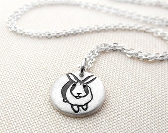 Tiny  silver bunny rabbit necklace, bunny pendant, rabbit jewelry