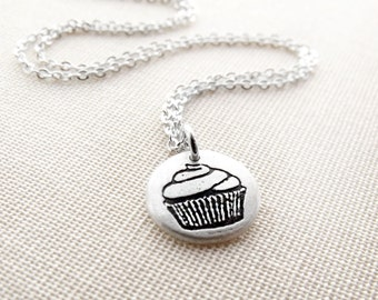 Tiny cupcake necklace, silver cupcake jewelry