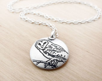 Handmade silver barn owl necklace, barn owl jewelry