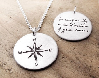 Graduation, Thoreau inspirational quote necklace, Compass necklace, Compass Rose, Go confidently in the direction of your dreams