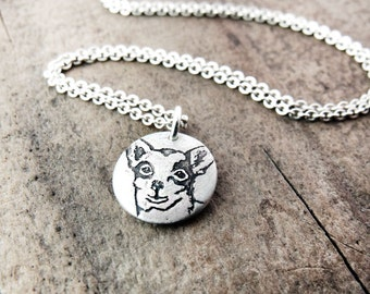 Tiny Chihuahua necklace, silver Chihuahua jewelry