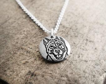 Tiny Akita necklace, silver dog necklace, Akita jewelry