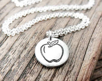 Tiny apple necklace, silver apple jewelry