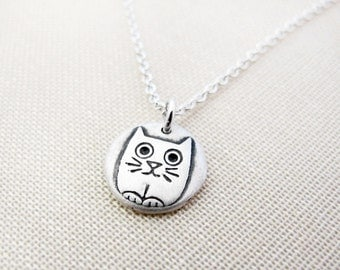 Tiny silly kitty cat necklace, silver cat jewelry, cute cat