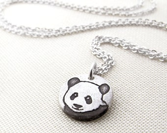Tiny Panda necklace in silver, panda jewelry
