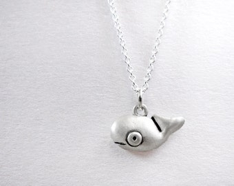 Very tiny whale necklace, whale jewelry, silver nautical sea life marine animal jewelry, girlfriend gift, coworker gift, daughter gift